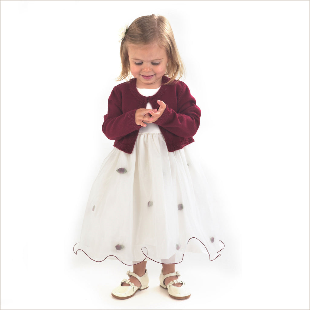 Harriet Baby Flower Girl Dress with Burgundy Cardigan 0-3m & 3-6m ONLY