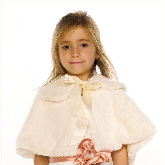 Faux Fur Cape with Satin Bow in White, Ivory & Black