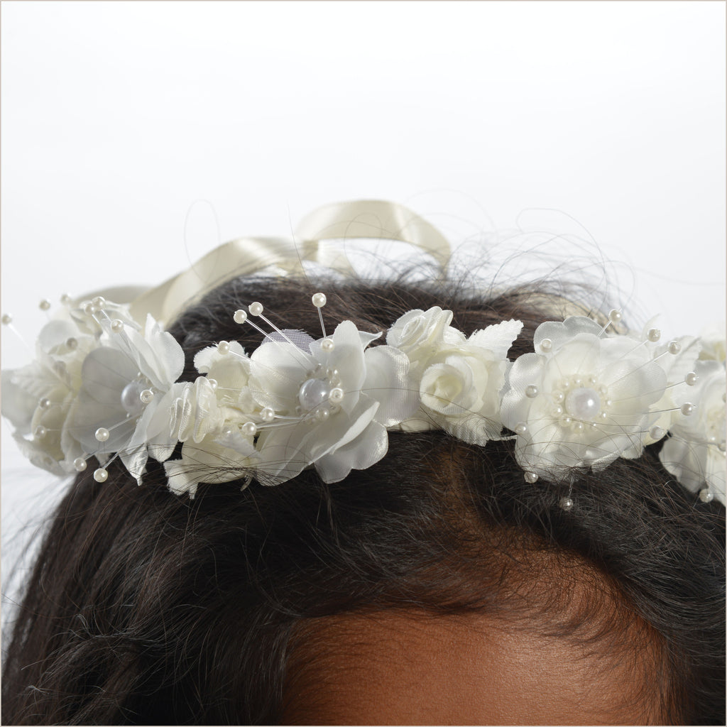 Ivory Floral Crown or Wreath for Hair