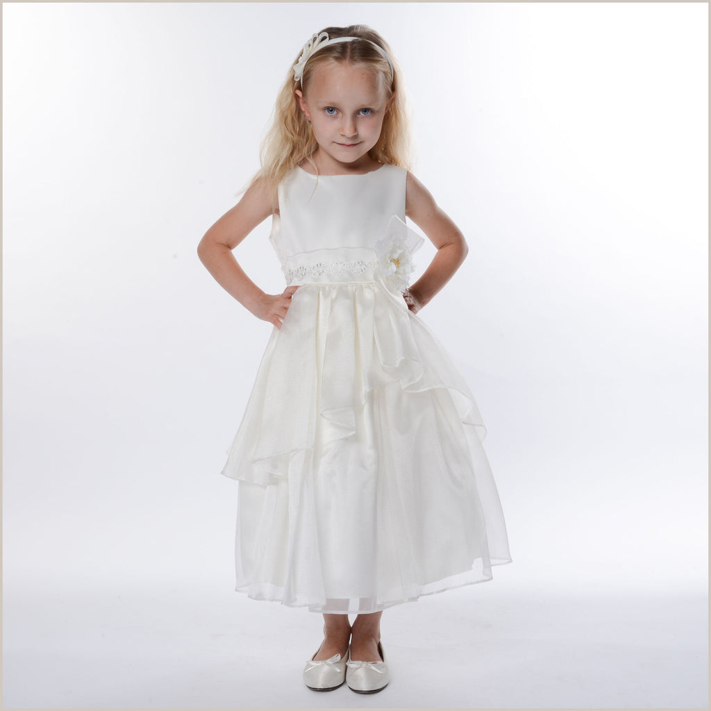 Zoe Ivory Tiered Organza Flower Girl Dress