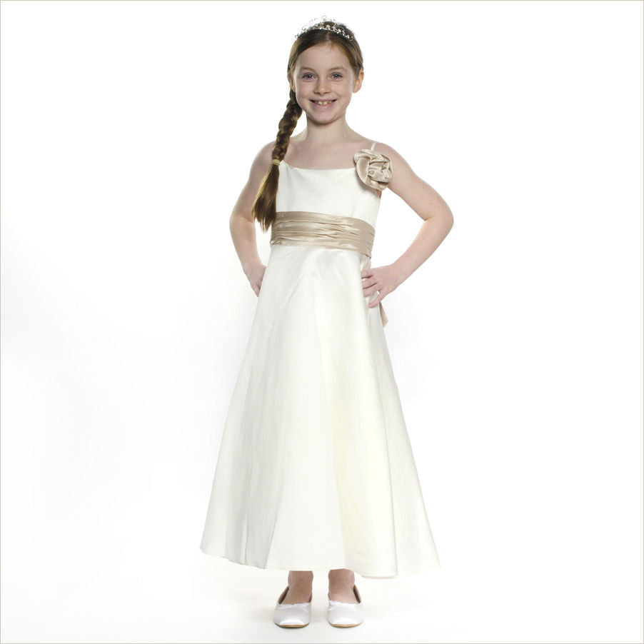 Marie champagne and ivory childs bridesmaid dress last for Ivory champagne wedding dress