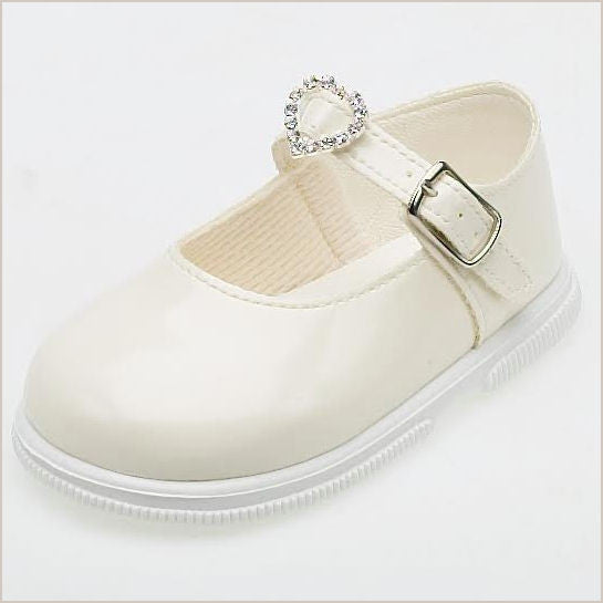Ivory Mary Jane Toddler Shoes with Heart Buckle 707