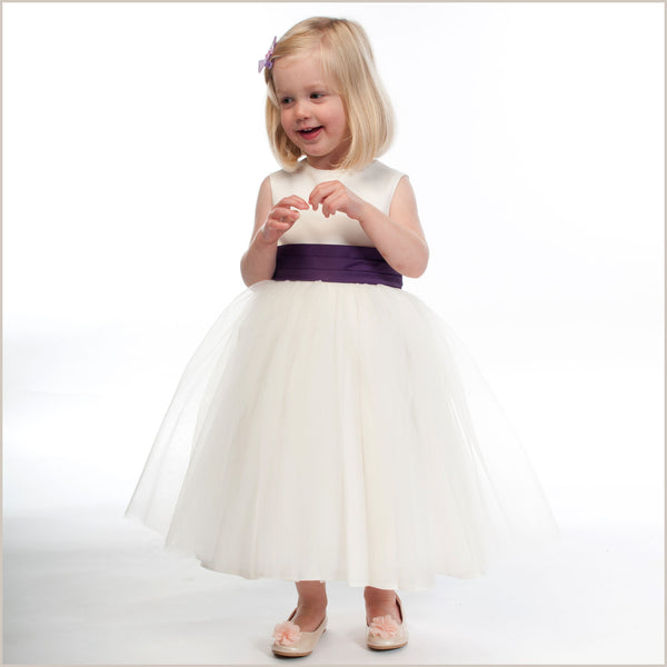 Ivory Flower Girl Dress With Purple Sash By Demigella