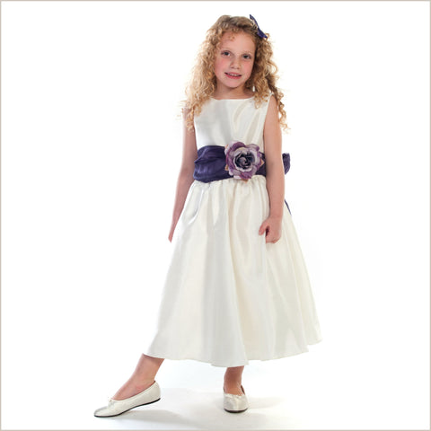 Belle Sash Dress in Ivory 6m to 14 years