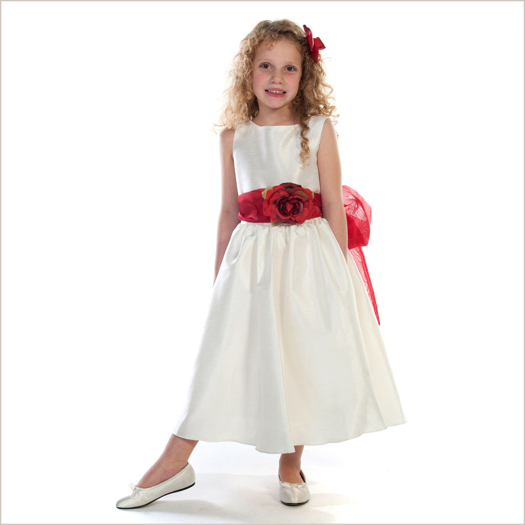 Belle Sash Ivory Flower Girl Dress 6m to 14 years
