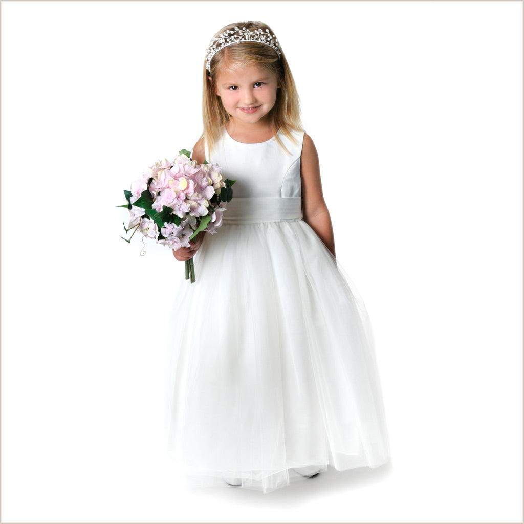 Princess Flower Girl Dress in Pale Ivory