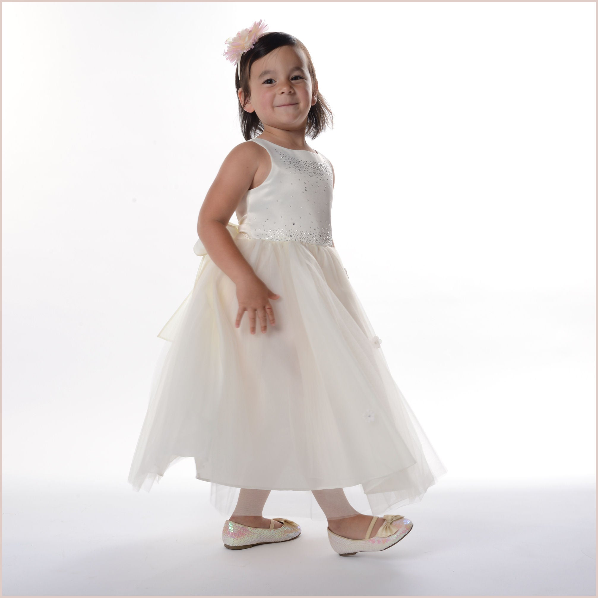 Ivory sparkle bodice flower girl dress with flowers on