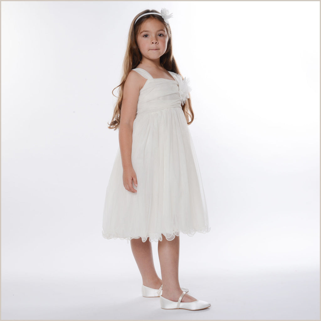 Safia Flower Girl Dress in Ivory Tulle