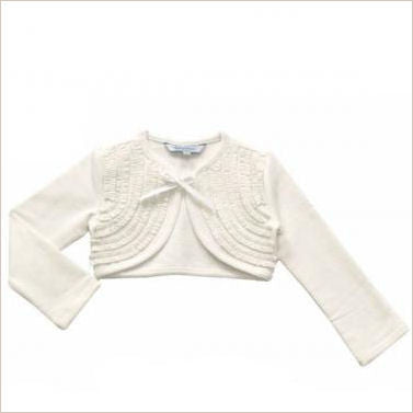 Jersey Cotton Ivory Ruffle Cardigan 4-8 years only