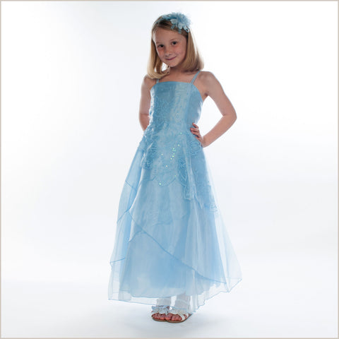 Jessica Blue Long Organza Dress with Caviar Beading