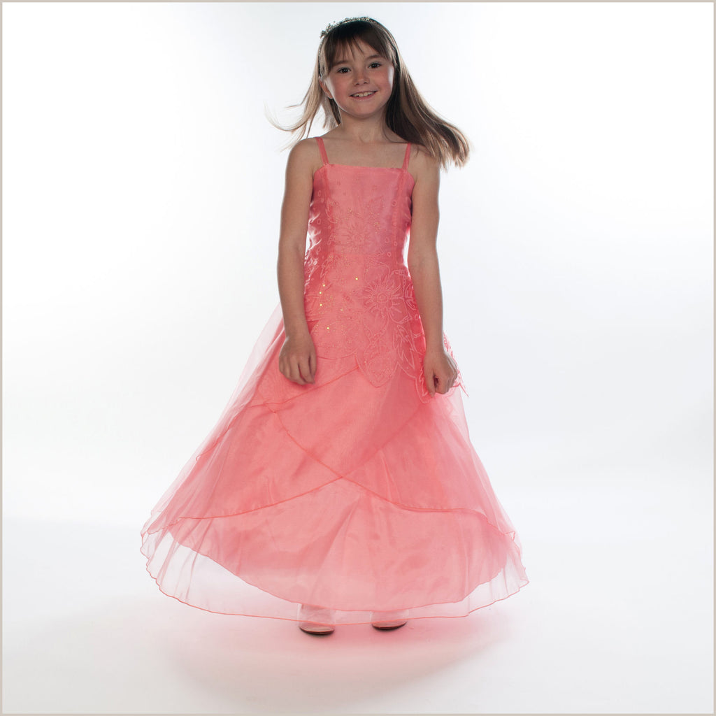 Jessica Coral Long Organza Dress with Caviar Beading