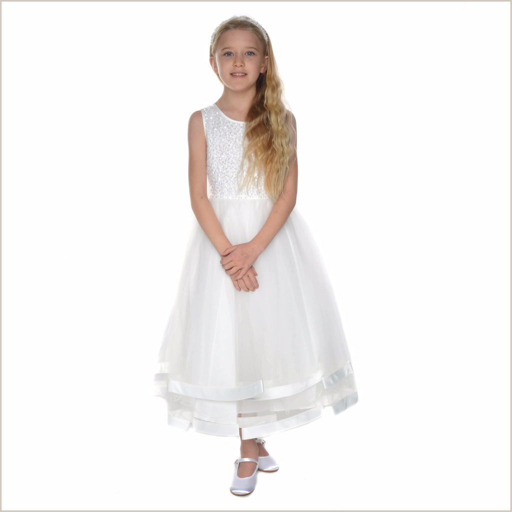 Jorja Beaded Ivory Flower Girl Dress 2-12 YEARS (ALLOW AN EXTRA WEEK FOR DELIVERY)