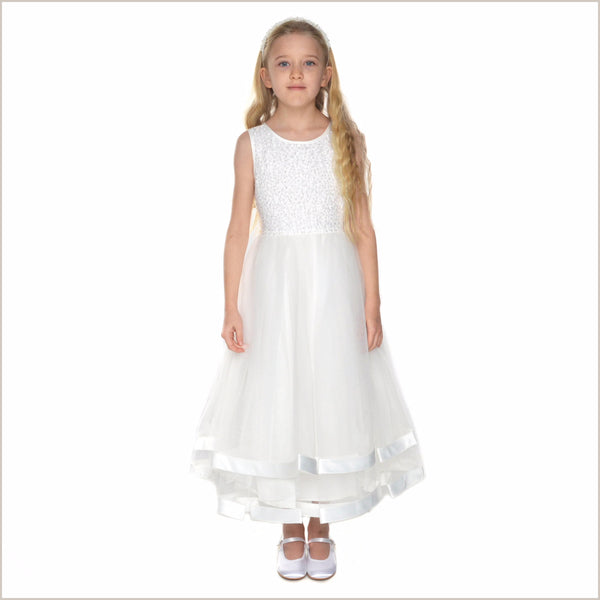 Jorja Beaded Ivory Flower Girl Dress