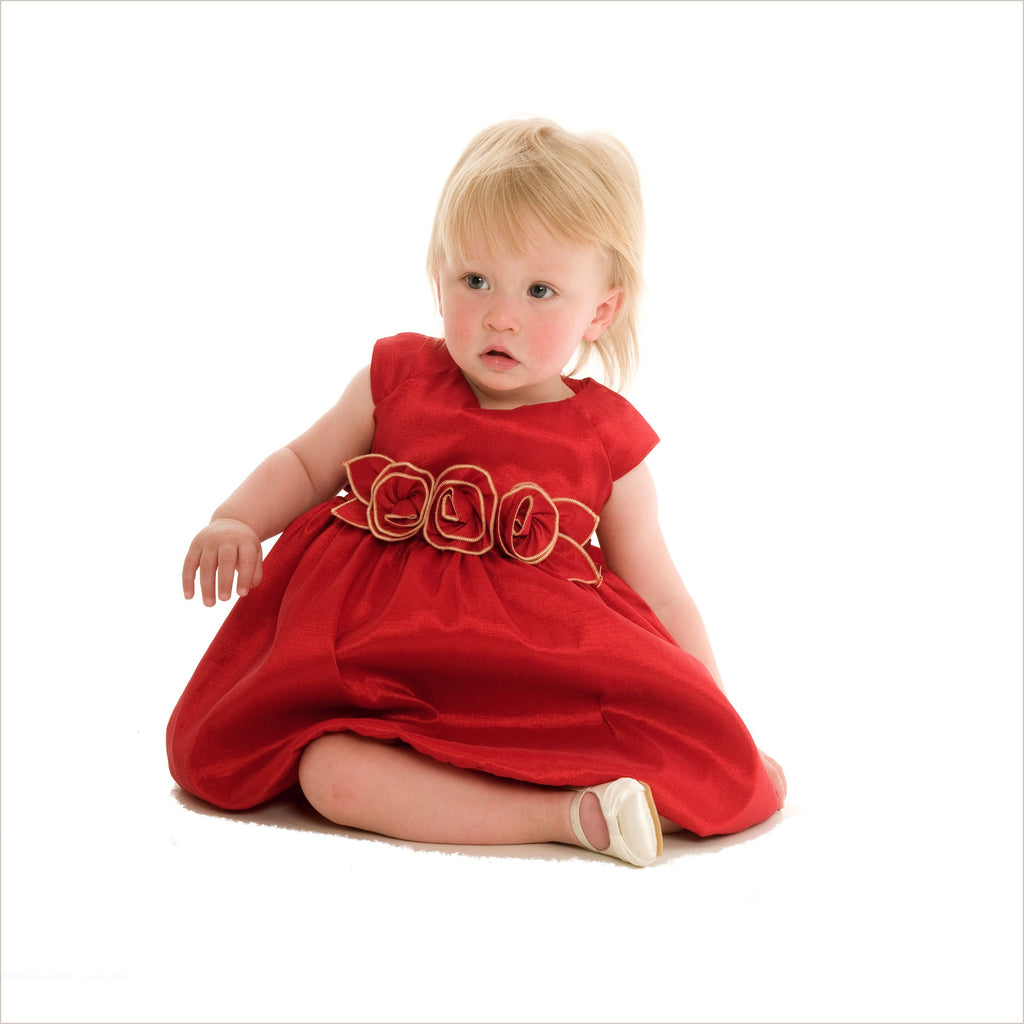 Julia Red Bubble Dress with Rose Waist
