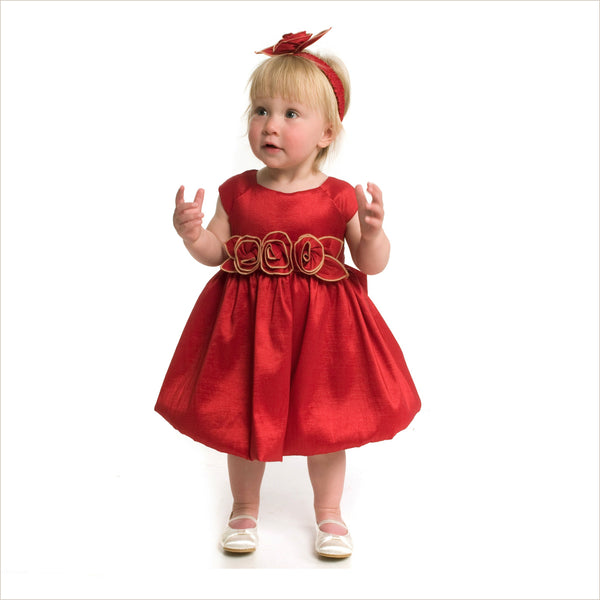 Julia Red Bubble Dress with Rose Waist 10y last one!