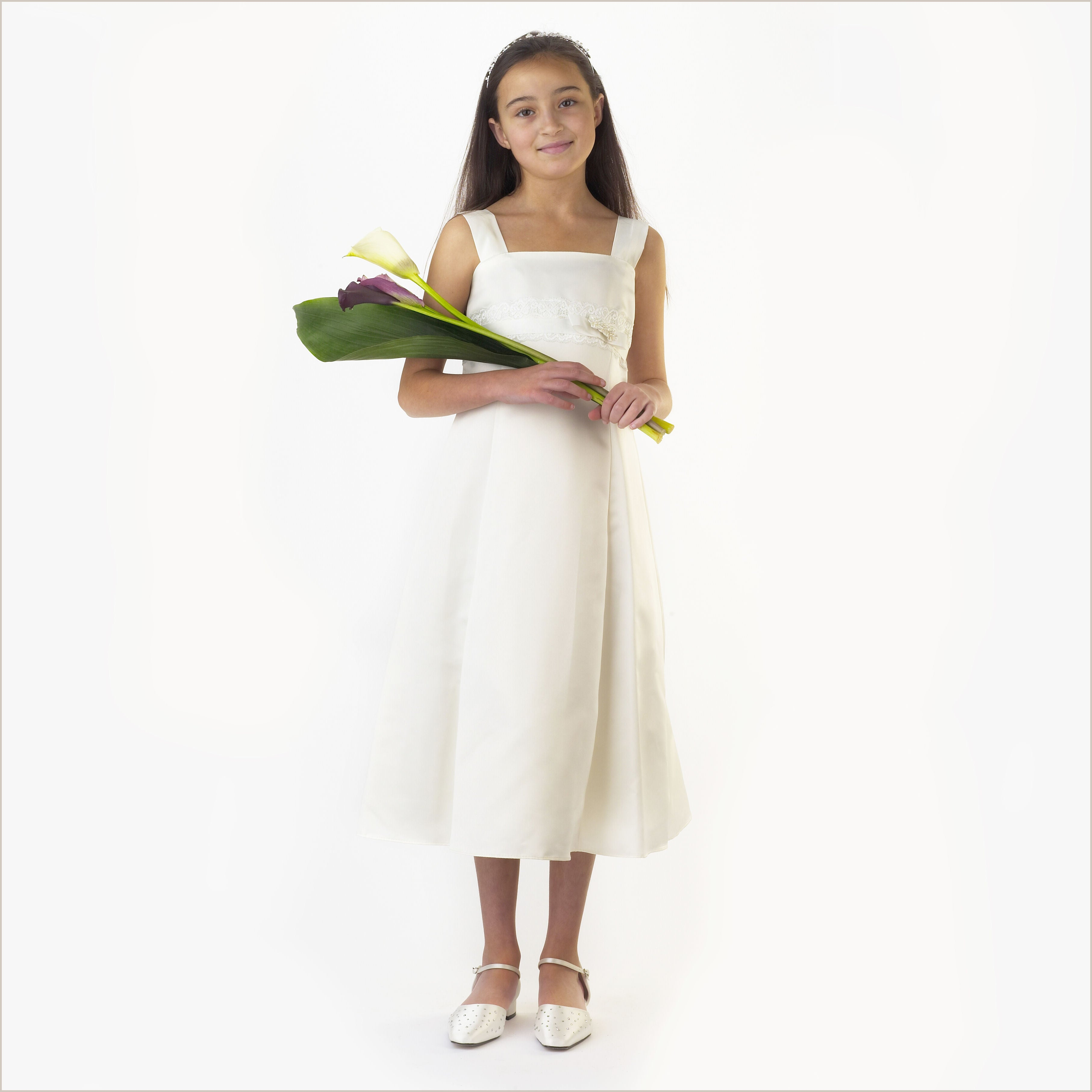 Layla ivory junior bridesmaid dress with lace and ribbon waistband junior bridesmaid dress in a line ivory satin matt ombrellifo Gallery