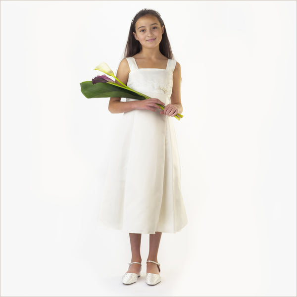 junior bridesmaid dress in A-line ivory satin matt