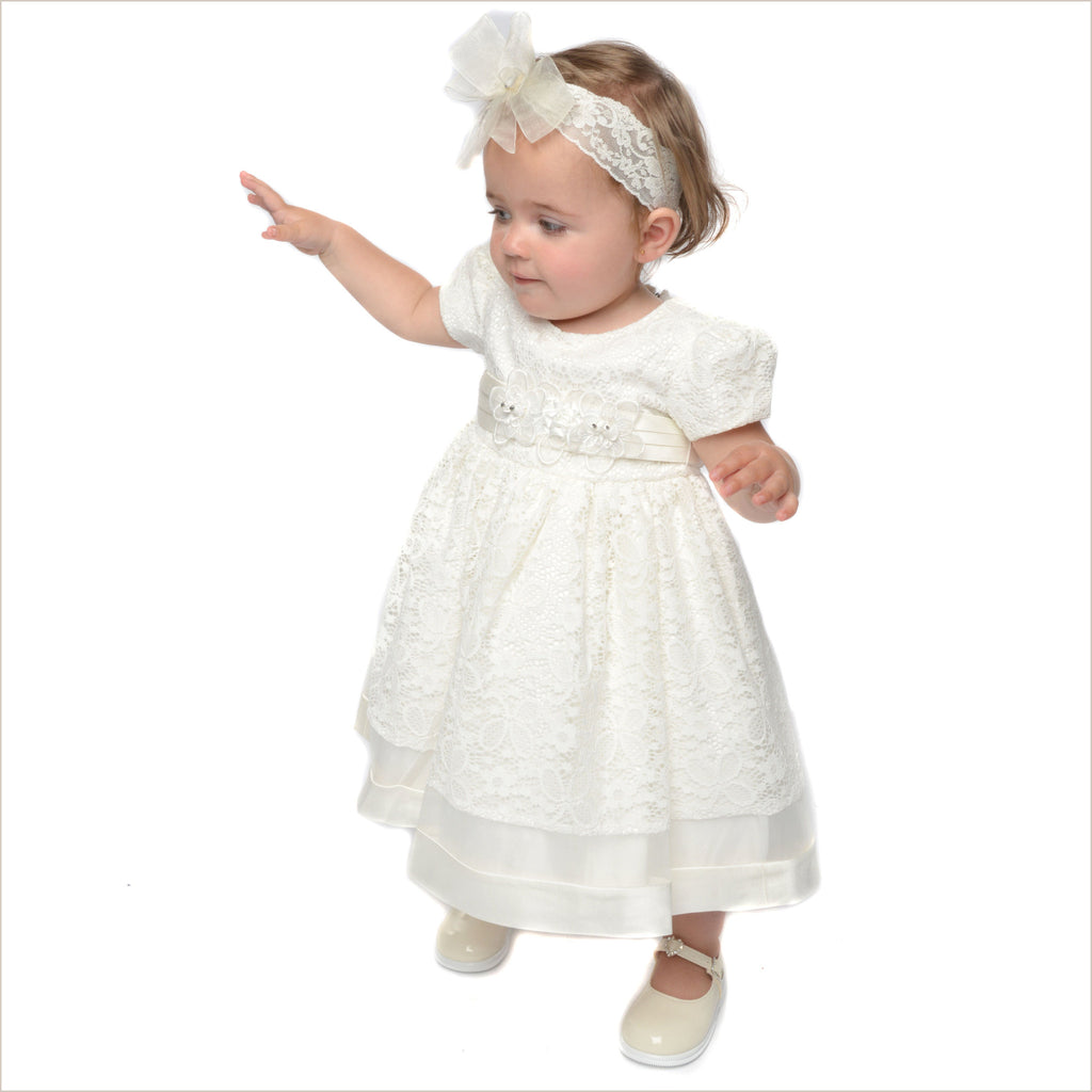 Kathryn Baby Flower Girl Dress in Ivory Lace