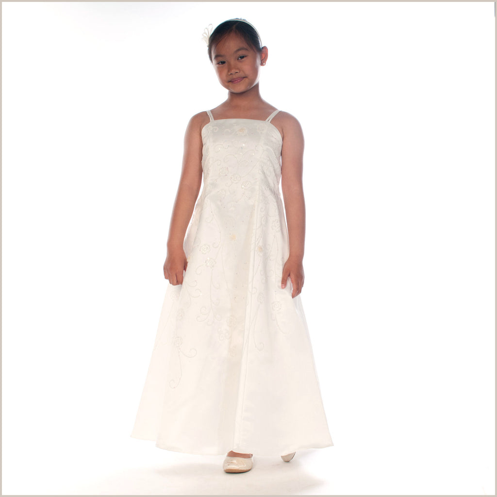 Lavinia Ivory Junior Bridesmaid Dress with Beading