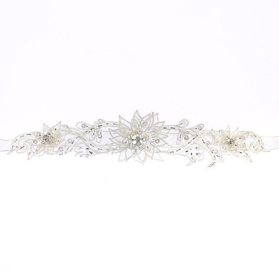 Star Flower Beaded Organza Belt 325
