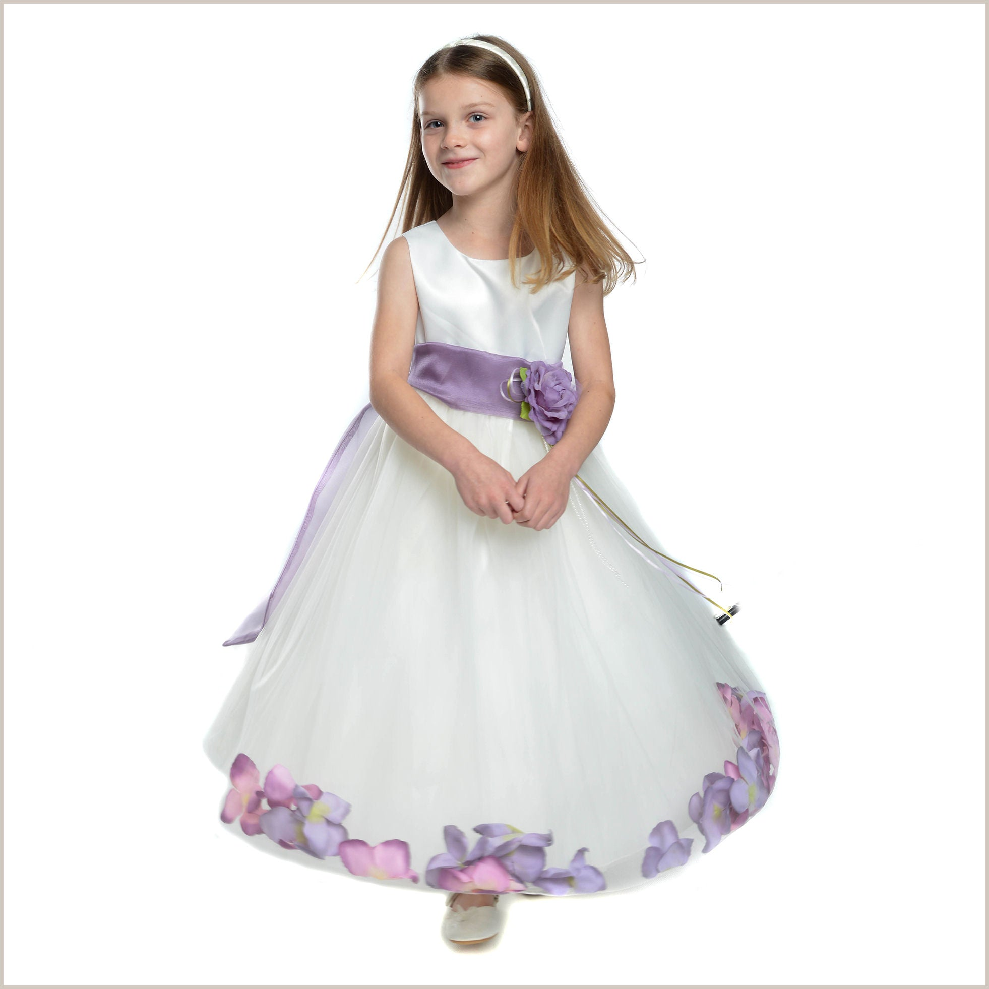 657e12fac99 Loose Petals in Skirt Flower Girl Dress in Ivory and Lilac