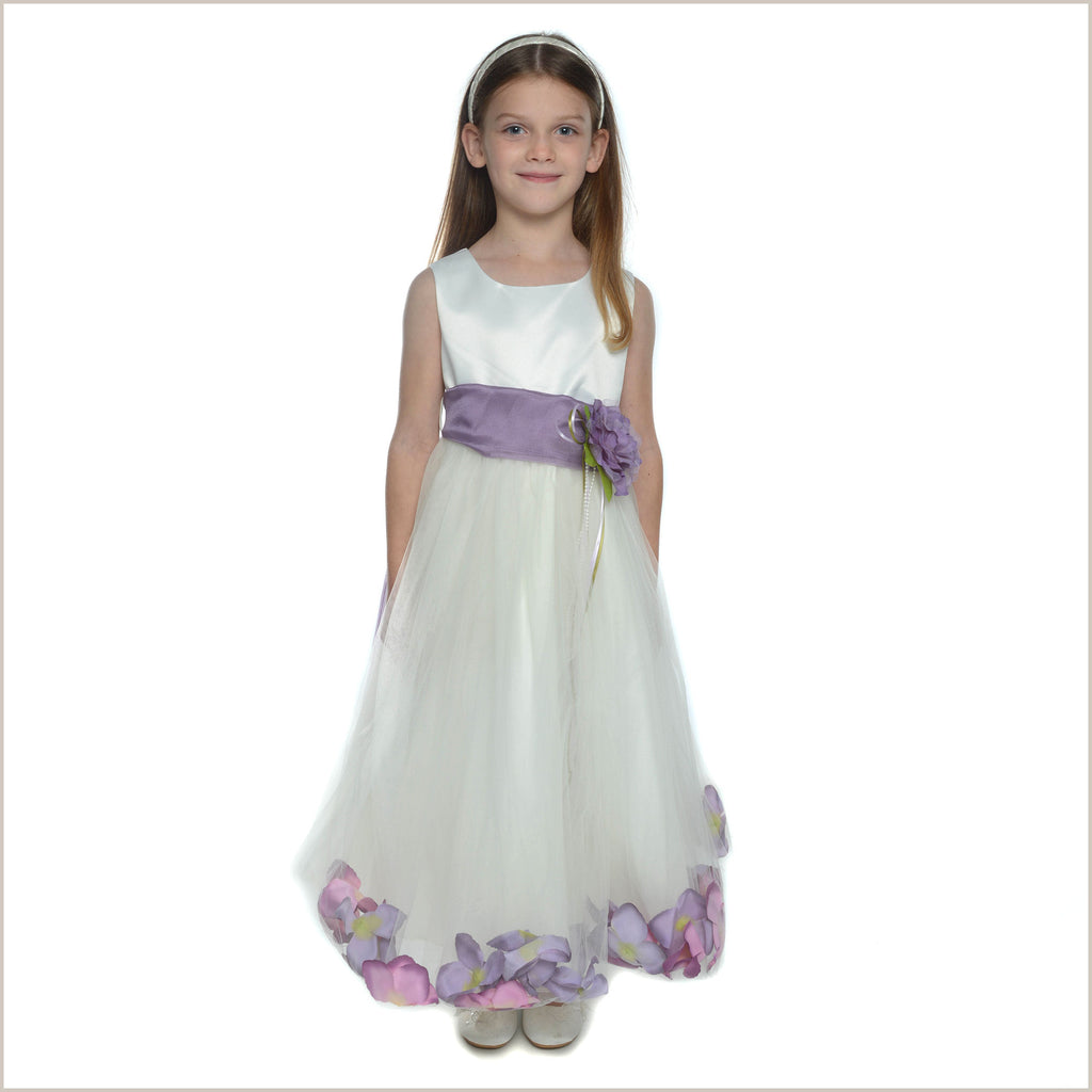 Petal dress in Ivory and Lilac 2y only