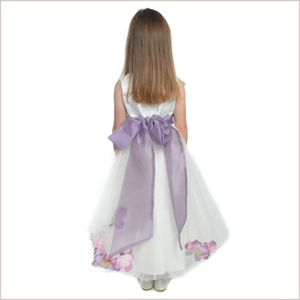 Petal dress in Ivory and Lilac 6y only