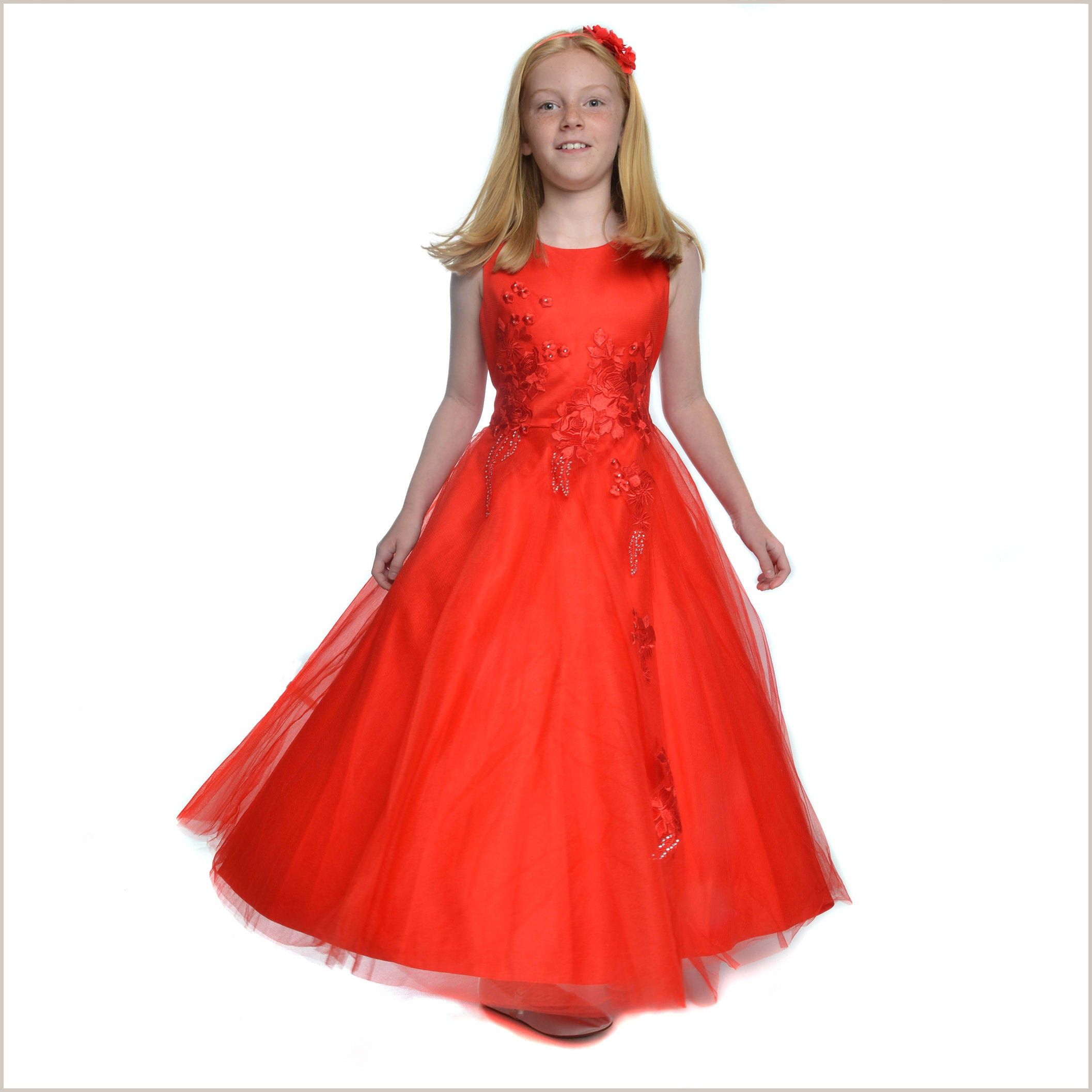 Childrens Red Bridesmaid Shoes