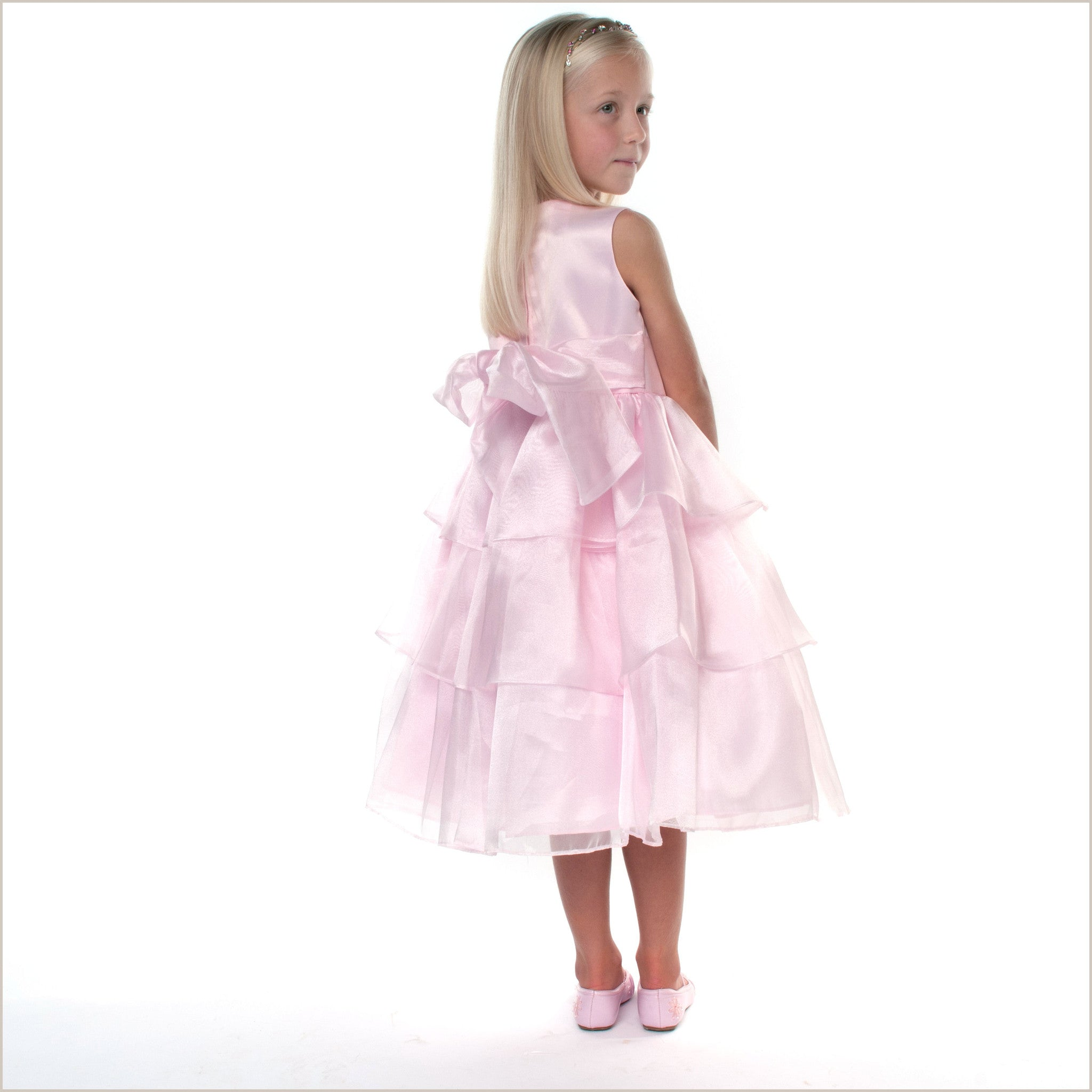 Baby Pink Marisole Flower Girl Dress with Tiered Skirt