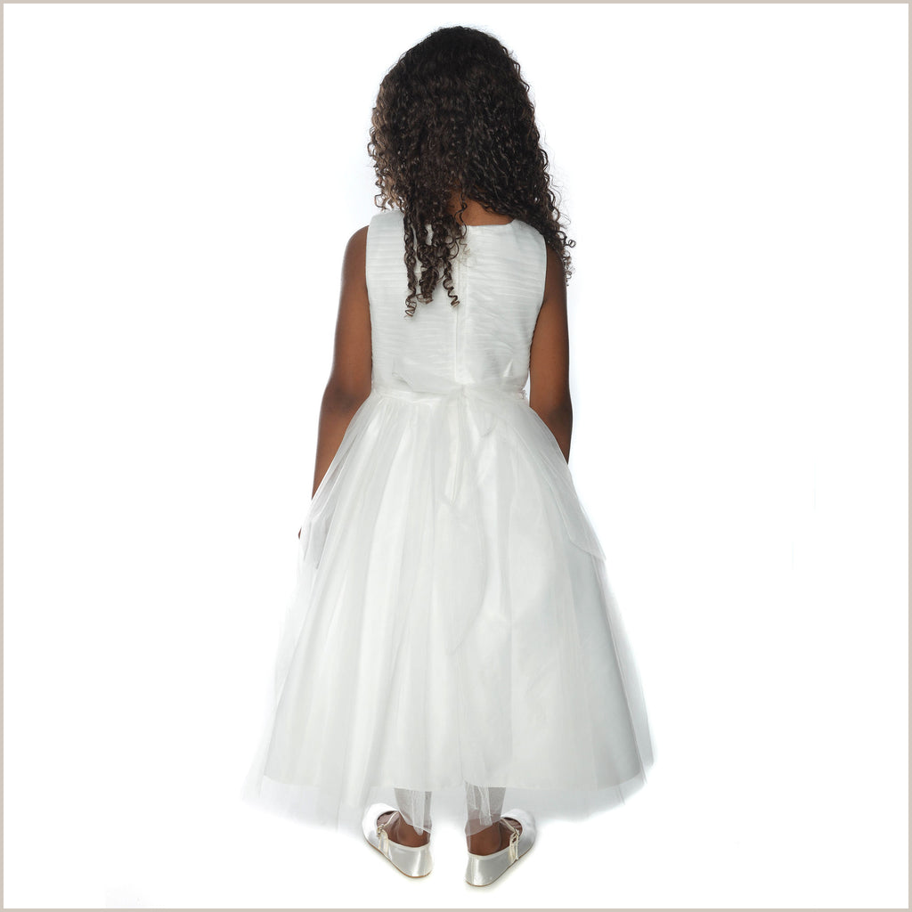 Maya Ivory Ruched Dress with Neckline Decoration