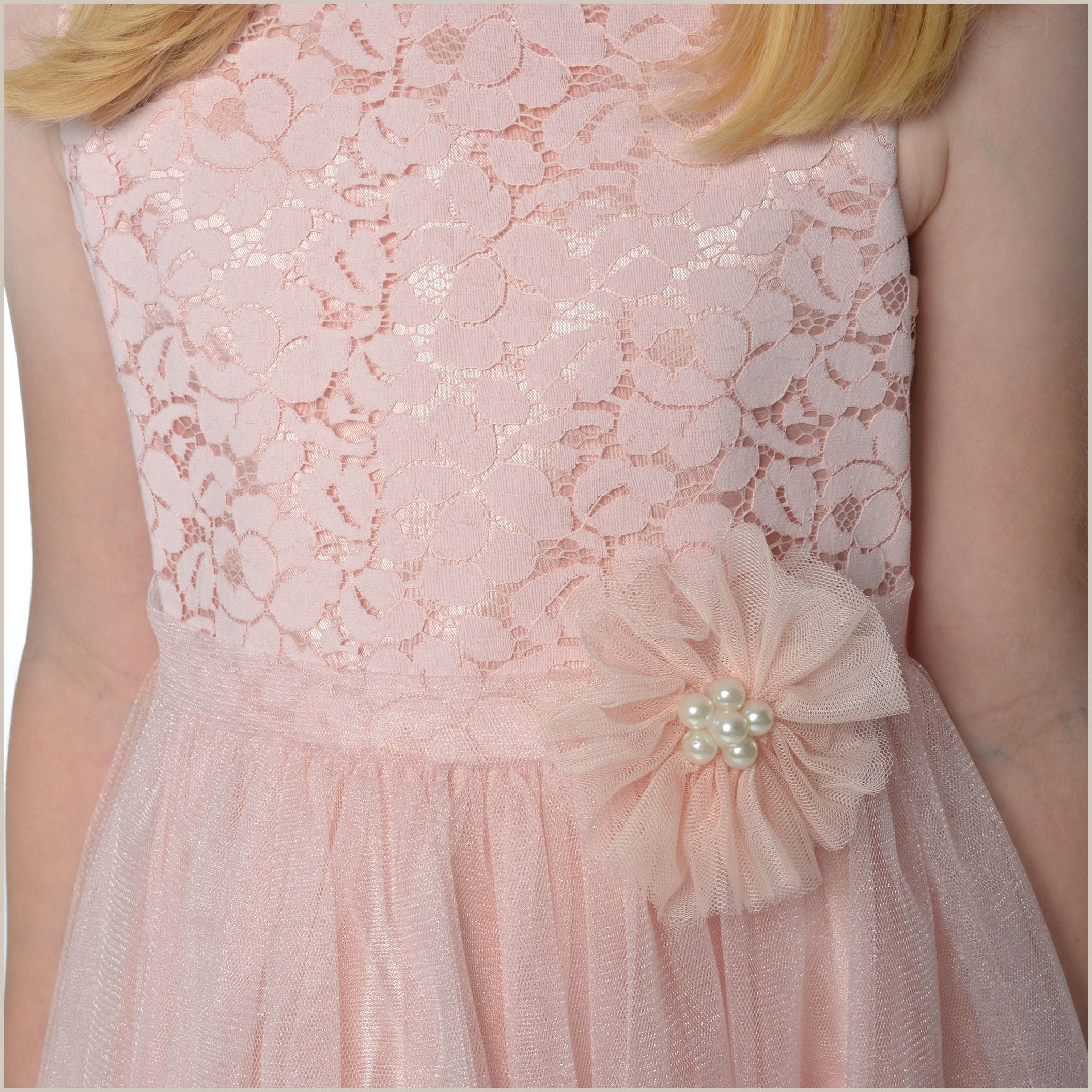 Millie Blush Pink Lace Flower Girl Dress