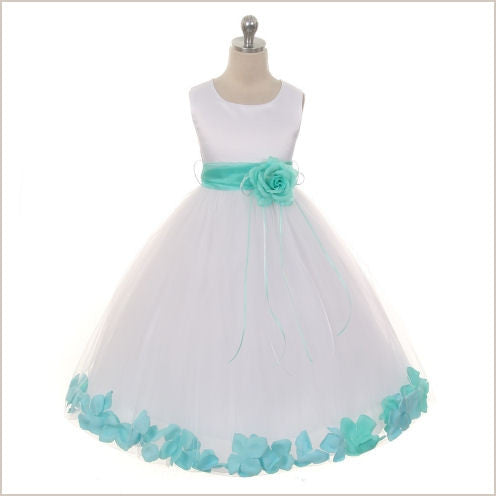 Ivory Petal Dress with Mint Green Petals - 5 weeks delivery