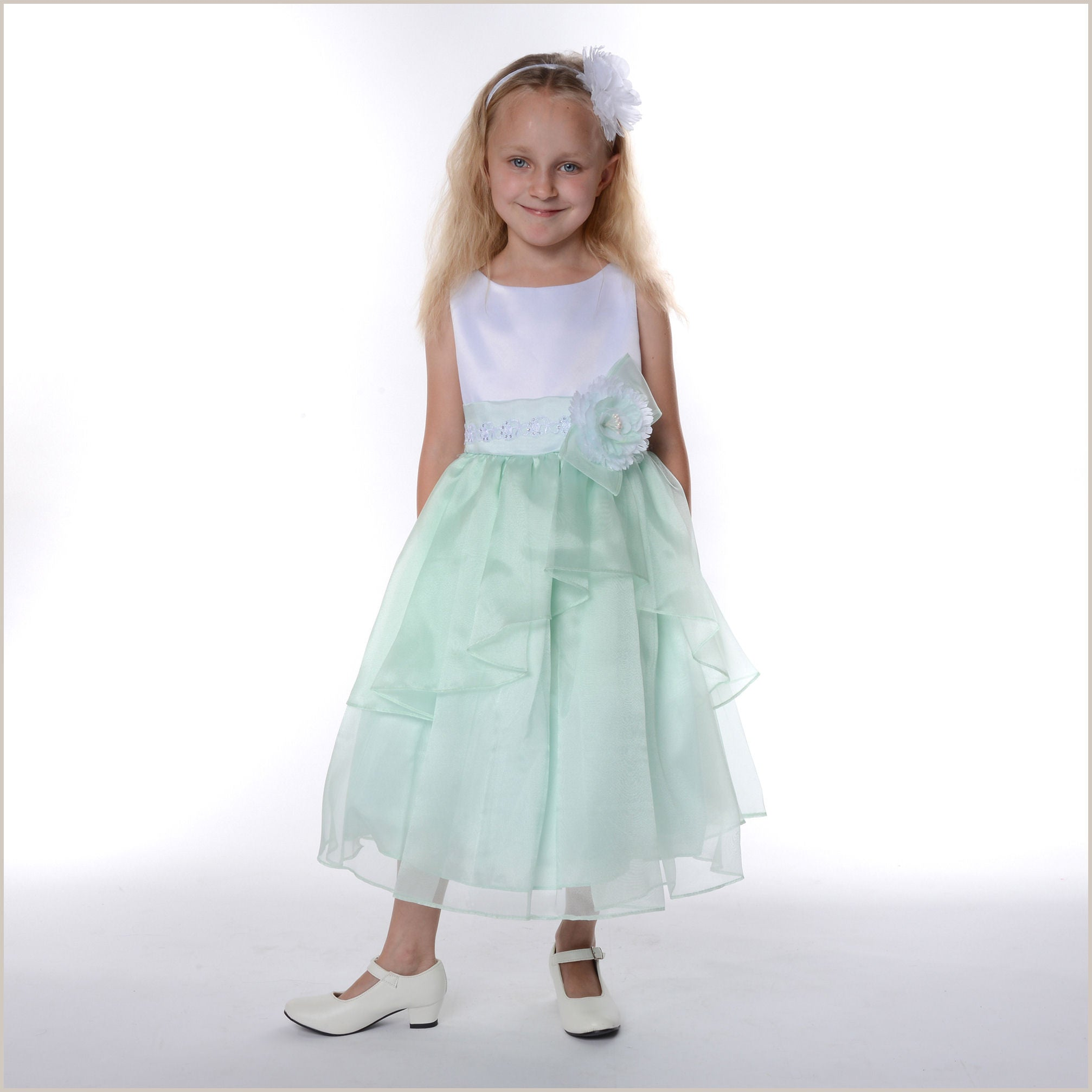 Wedding Mint Flower Girl Dresses zoe green mint white tiered organza flower girl dress dress