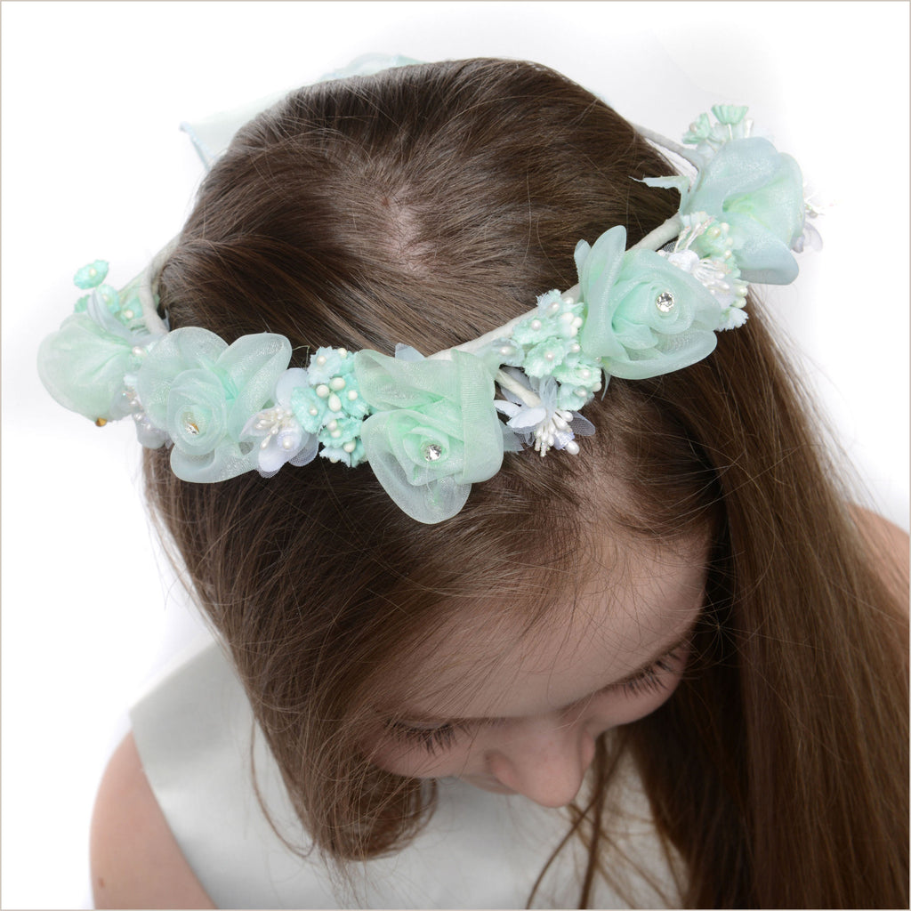 Floral Crown in Mint Green & White