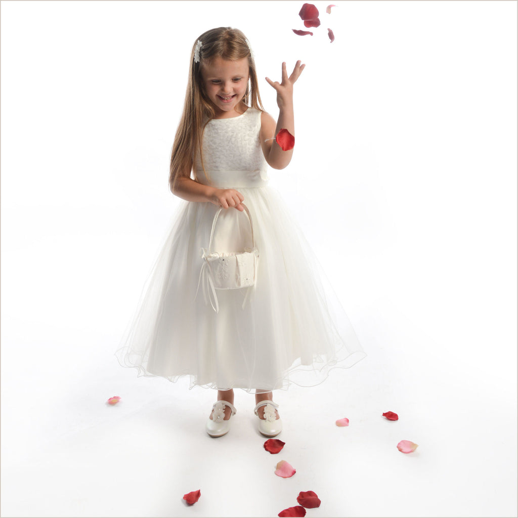 Flower Girl Dress Molly in Ivory with Textured Top