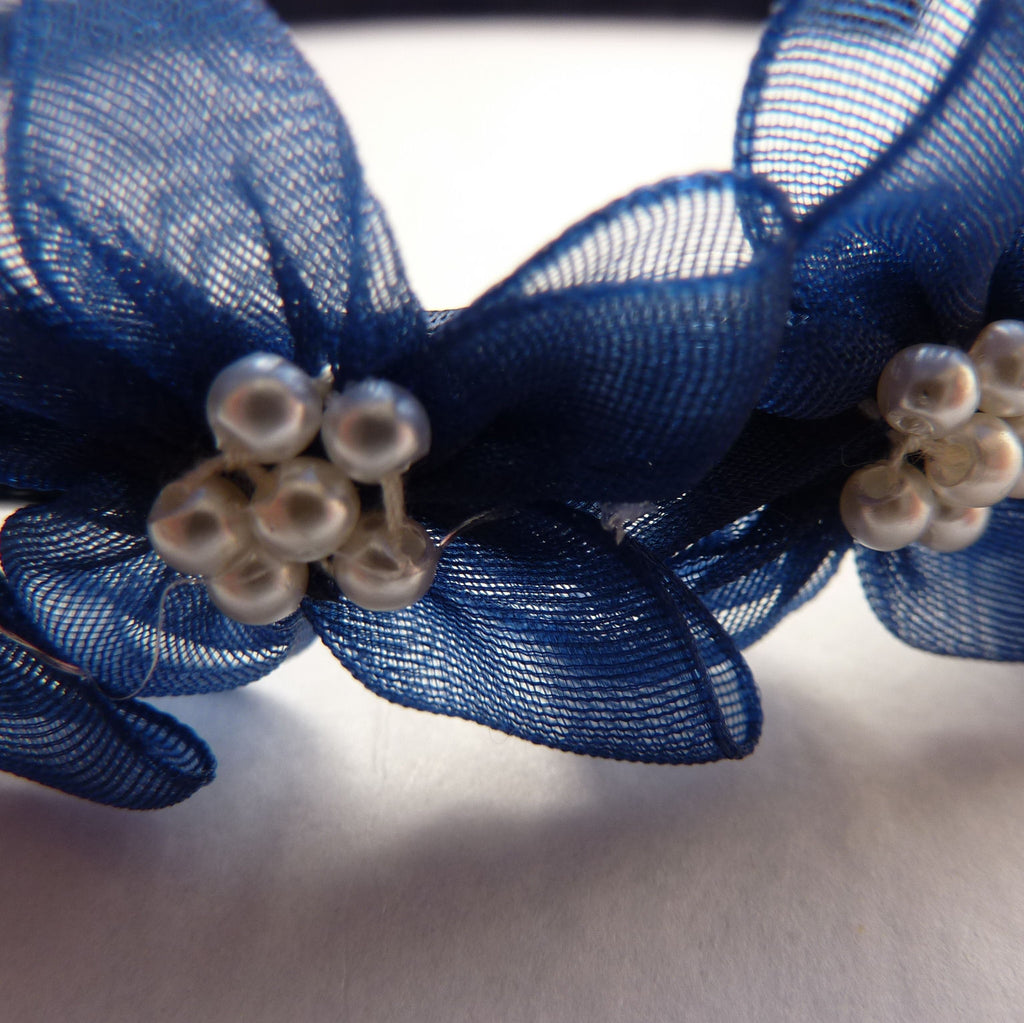 Navy Hairband with Organza Flowers