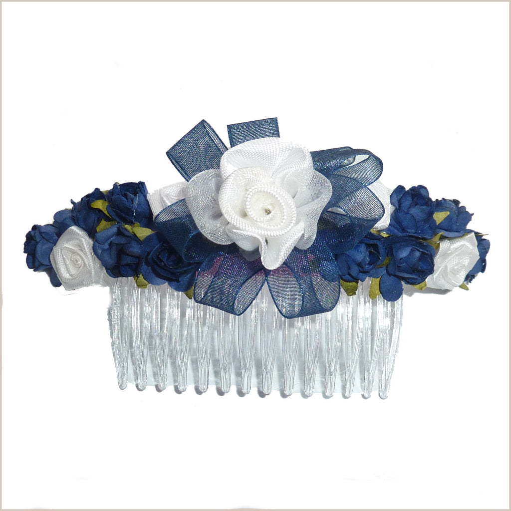 Navy & White Flower Hair Comb