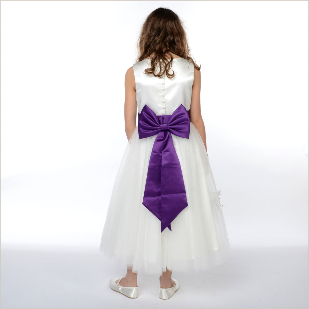 Coloured Satin Bow Sashes with Pre-formed Bow