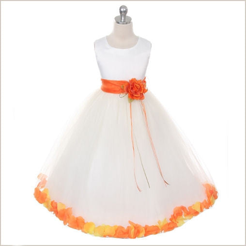 Ivory Petal Dress with Orange Petals - 5 weeks delivery