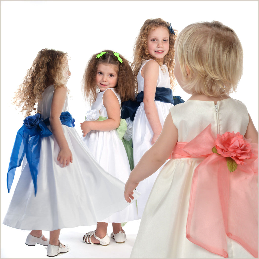 Flower Girl Sashes in Organza & Flowers- many colours