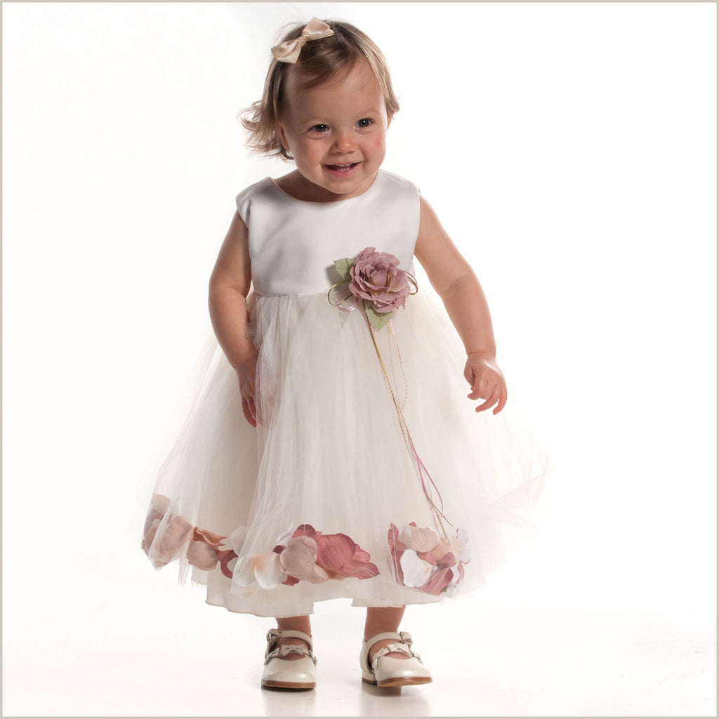 Petal dress in Ivory and Dusky Pink