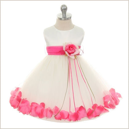 Petal dress in Ivory and Fuchsia