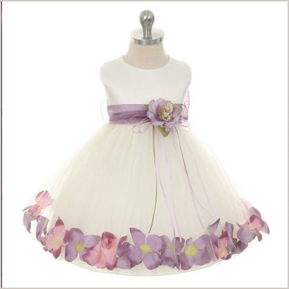 Petal dress in Ivory and Lilac