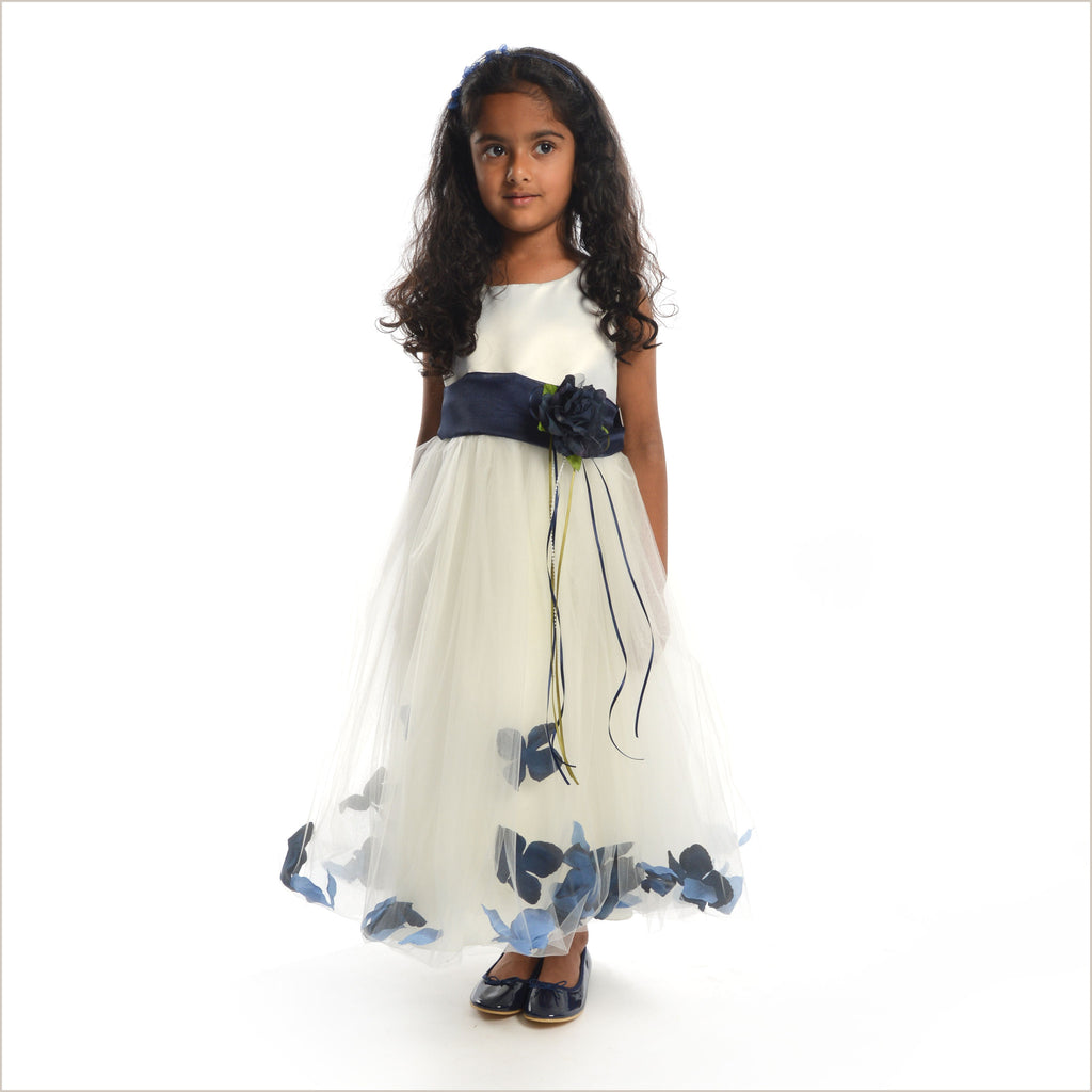Ivory Petal Dress with Navy petals- 5 weeks delivery