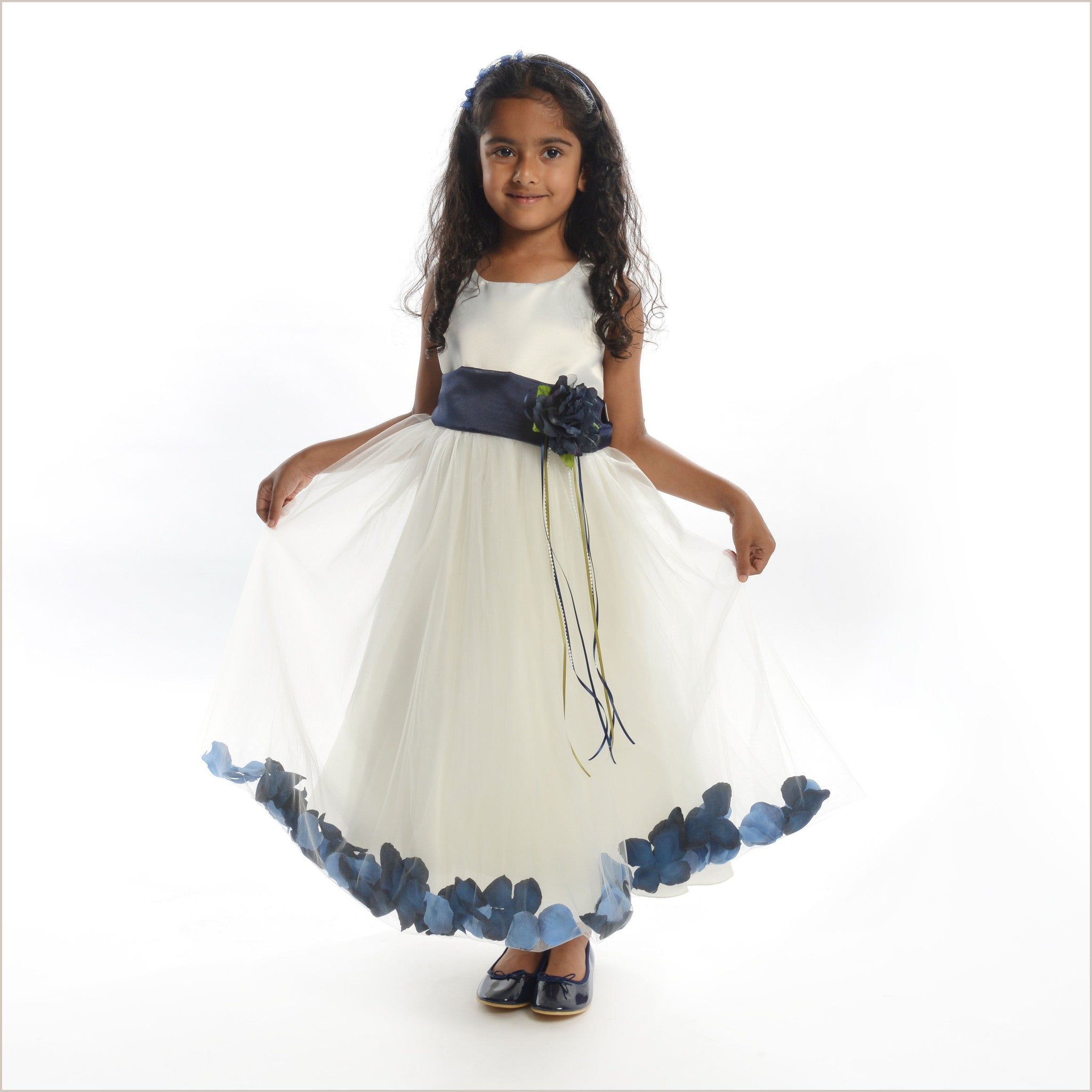 Flower girl dress with petals in choice of colours ivory petal dress with navy petals 5 weeks for delivery ombrellifo Image collections