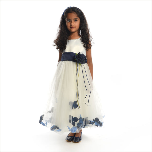 Ivory Petal Dress with Navy petals 14y only