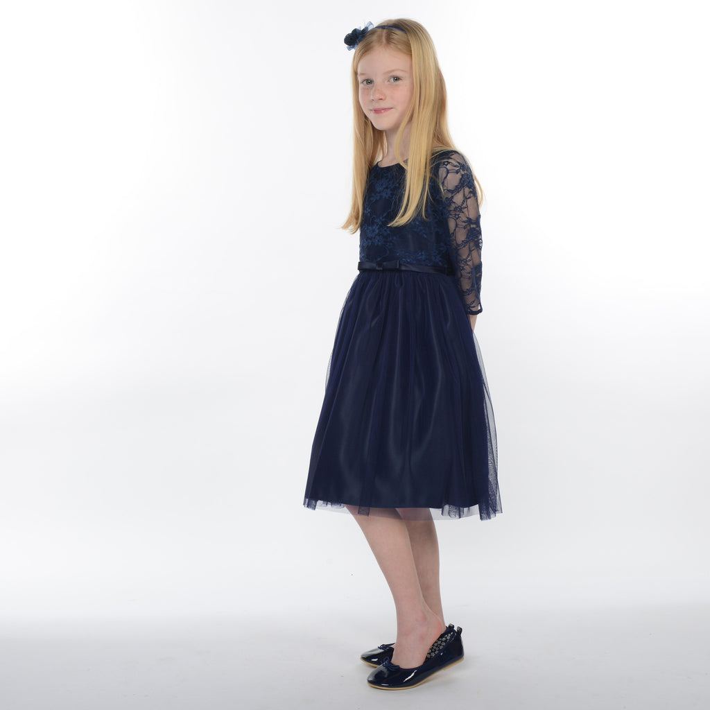 Cleo 3/4 Length Sleeved Lace Dress in Navy Blue