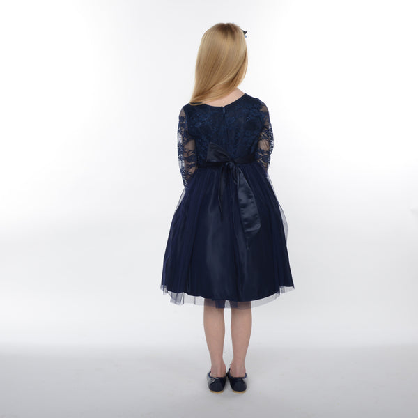 Cleo 3/4 Length Sleeved Lace Dress in Navy Blue 7y last one!