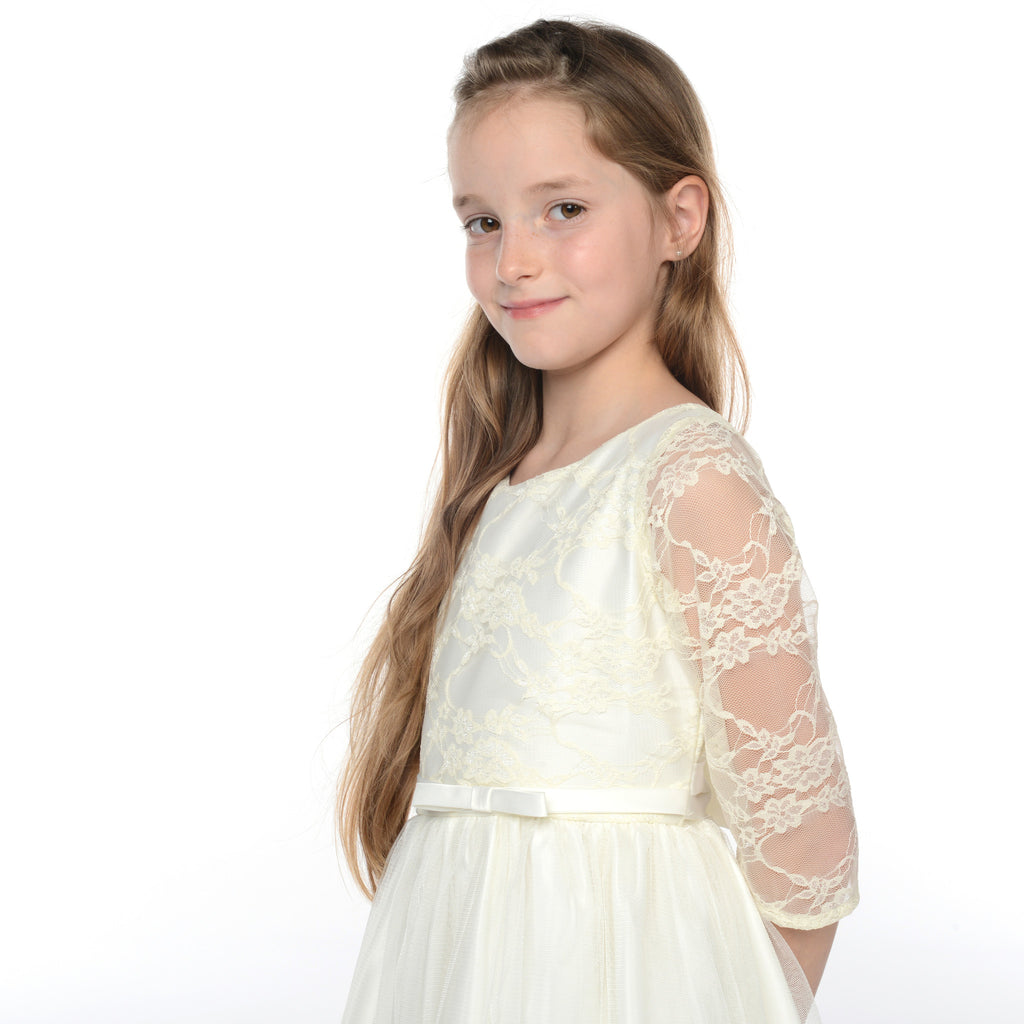 Cleo 3/4 Length Sleeved Lace Junior Bridesmaid Dress in Ivory