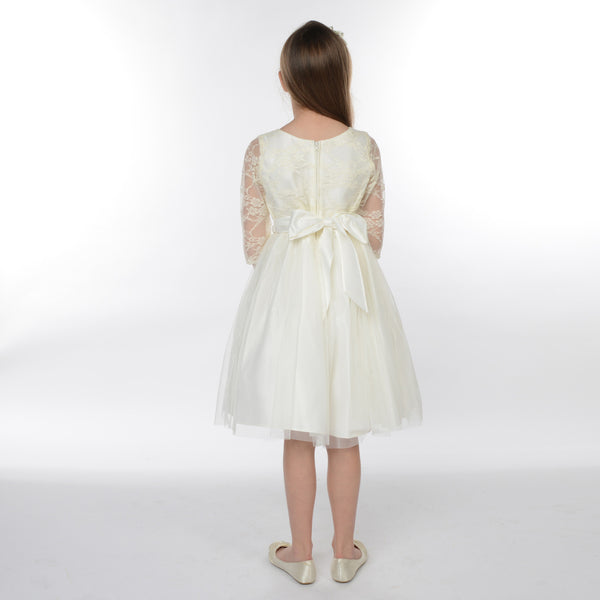 Cleo Long Sleeved Lace Junior Bridesmaid Dress in Ivory